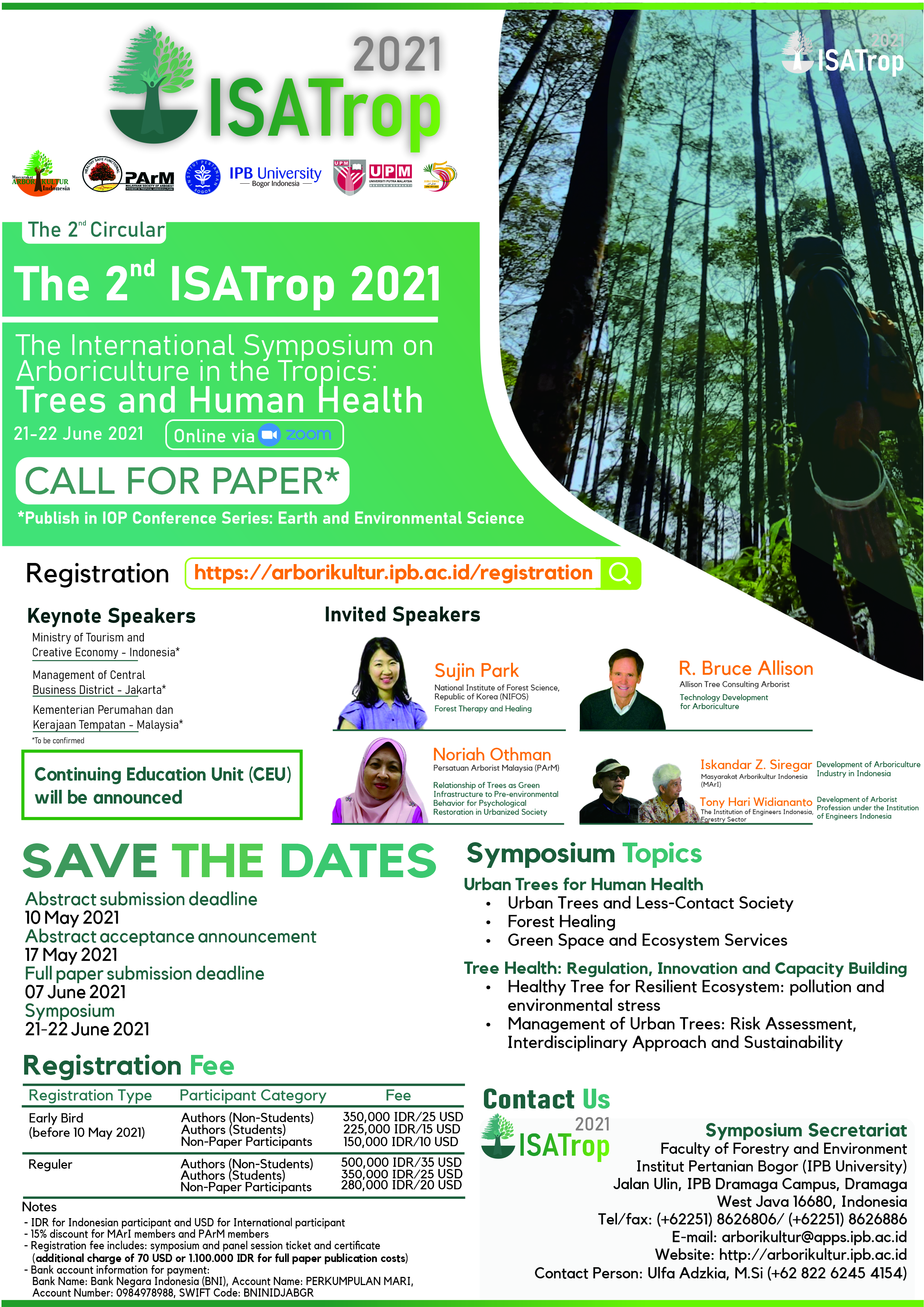 Call for Papers of the International Symposium on Arboriculture in the Tropics: Trees and Human Health
